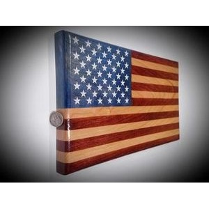 "6.5"" x 12"" - Hand Stained Desktop American Flag - USA-Made by Veterans"