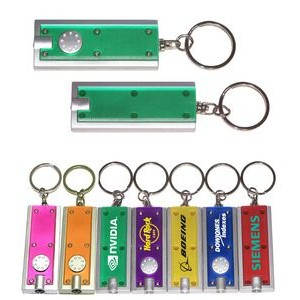 Slim Rectangular Flashlight with Swivel Key Chain (Translucent Green)