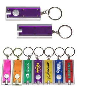 Slim Rectangular Flashlight with Swivel Key Chain (Translucent Purple)