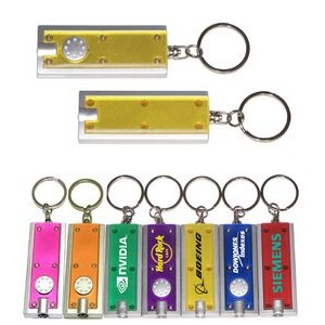 Slim Rectangular Flashlight with Swivel Key Chain (Translucent Yellow)